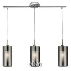 Searchlight 3 Lights Satin Silver Smoked Glass Bar Chandelier Ceiling Pendant