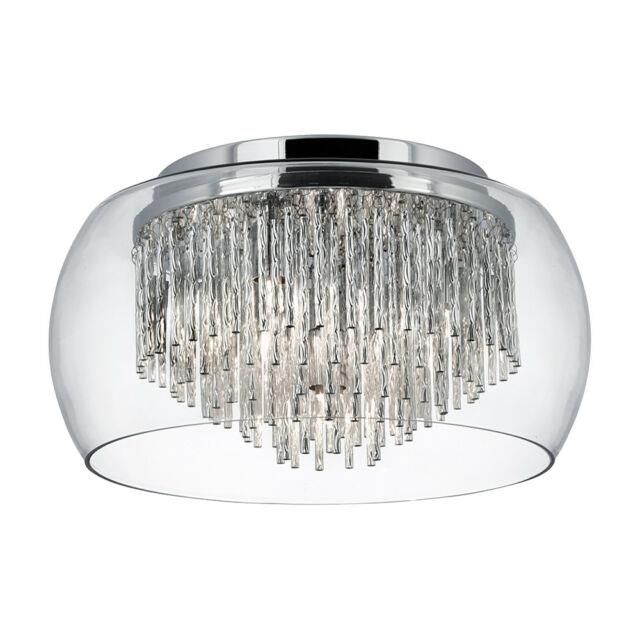 Searchlight 4 Lights Clear Glass Shade Flush Ceiling Mount Fitting Chandelier