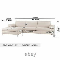Sectional Sofa with Chaise L-Shape Couch in Linen, Wide Chaise Sofa, Beige Sofa