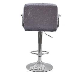 Set of 2 Counter Height Bar Stools Leather Adjustable Swivel Pub Velvet Chairs