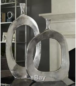 Set of 2 Large Metal Floor Vases Round Modern Textured Abstract Hand Crafted
