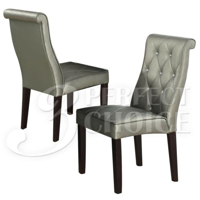 Set Of 2 Luxury Diamond Crystal Tufted Dining Chairs Chair Silver Pu Leather
