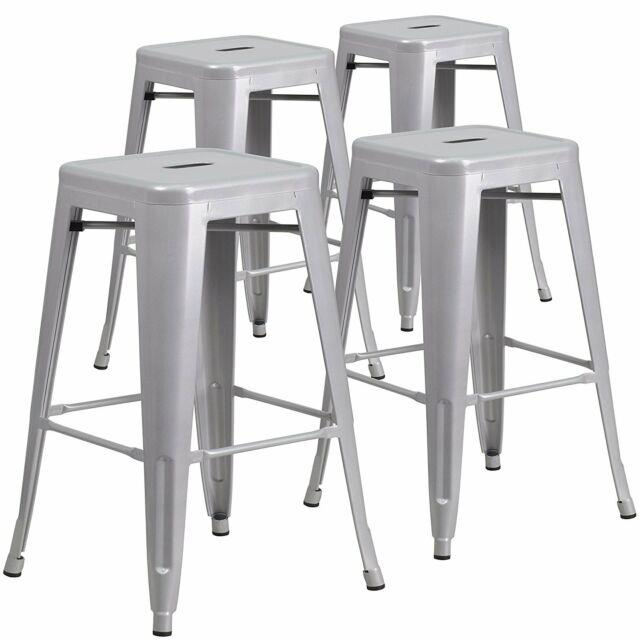 Set Of 4 Metal Steel Bar Stools Vintage Antique Style Counter Bar Stool Silver