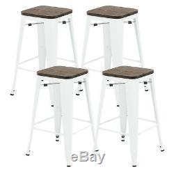 Set of 4 Metal Wood Bar Stools Vintage Style Bar Chairs Indoor Outdoor 3 Colors