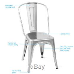 Set of 4 Tolix Style Dining Side Chair Stackable Bistro Cafe Chic Metal Silver