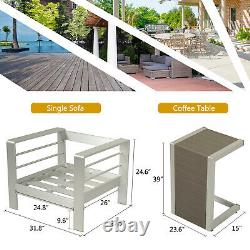 Shore Aluminum Patio Sectional Sofa Table Set Cushioned Couch Outdoor Furniture
