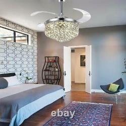 Silver 42 Crystal Ceiling Fan Chandelier Remote Retractable Blades with Led Light