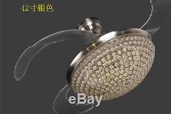 Silver 42 Modern Crystal Invisible Ceiling Fan LED Light Chandelier Lamp+Remote