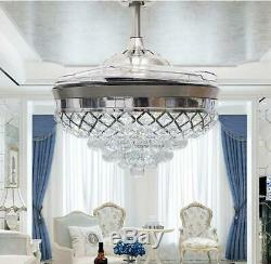 Silver 42 Remote Retractable Ceiling Fans LED Light Crystal Chandelier Fixtures