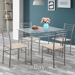Silver 5 Piece Dining Set Table Glass and 4 Chairs Glass Top Kitchen Breakfast