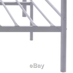 Silver Full Size Metal Bed Frame Platform Headboard 10 Legs Furniture Bedroom