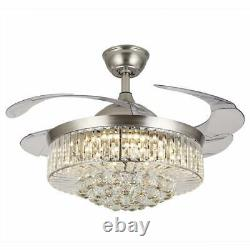 Silver/Gold 36/42 LED Invisable Ceiling Fan Lamp Crystal Remote Chandelier