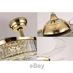 Silver/Gold 36/42 LED Invisable Ceiling Fan Lamp Crystal Remote Chandelier US