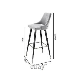 Silver Grey Velvet Bar Stool with Button Back Maddy