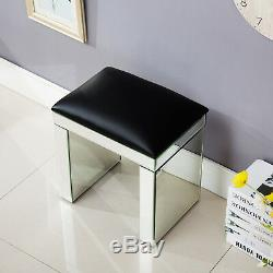 Silver Mirrored Glass Bench Home Vanity Make-up Padded Stool Furniture Modern