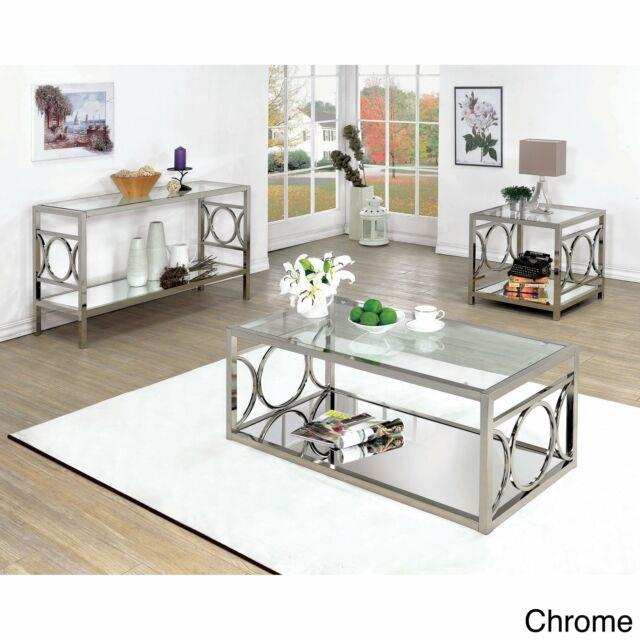 Silver Orchid Valkyrien Contemporary Glass Top Sofa Table Chrome Glam, Modern &