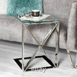 Silver Table End Side Table Clear Glass Hallway Display Modern Cross Living Home