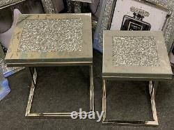 Stainless Steel Mirrored 2 Nest End Tables Sparkly Silver Diamond Crush Crystal