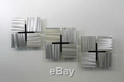 Statements2000 3D Metal Wall Art Silver Accent Panels by Jon Allen 3 of a Kind