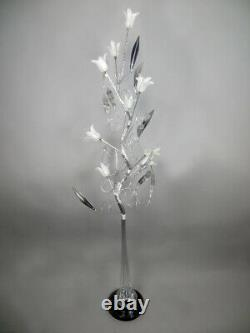 Swirl Twisted Silver Metal Wire LED Floor Lamp White Glass Floral Flower Shades