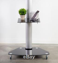 TV Cart for LCD LED Plasma Flat Panels Stand with Wheels Mobile fits 32 to 70