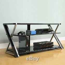 TV Stand Storage For TVs up to 65 Inches With 3 Display Tempered Glass Shelves