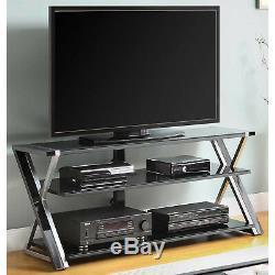 TV Stand Storage for TVs up to 65 inches Flat Panel with Tempered Glass Shelves