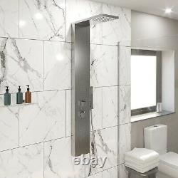 Thermostatic Shower Panel Column Tower Body Jets Twin Head Brushed Steel Finish