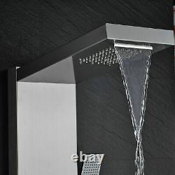 Thermostatic Shower Panel Tower Rain&Waterfall Massage Body System Brushed Tap