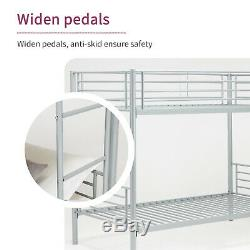 Twin over Twin Bunk Bed Metal Frame Bedroom for Kids Adult Children Silver