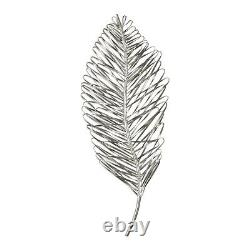 Two 27 Leaflets Leaves Aged Metallic Silver Metal Wall Art Decor Uttermost