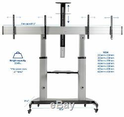 VIVO Ultra Heavy Duty Mobile Cart Dual TV Stand Fits Two 37 to 60 Screens
