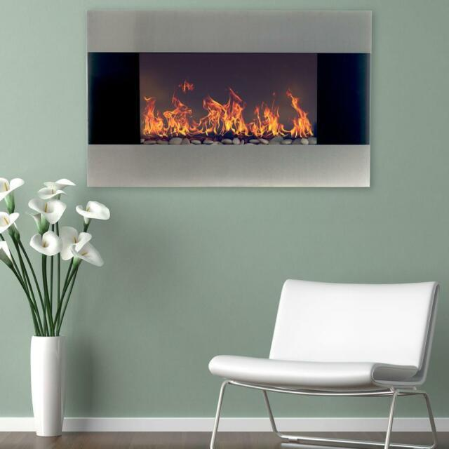 Wall Mount Stainless Steel Electric Fireplace 35 In. Modern Heater Flame Remote
