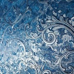 Wallpaper Victorian Blue Silver Metallic textured Embossed damask wall coverings