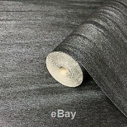 Wallpaper textured faux animal fur wall coverings charcoal Black Silver Metallic
