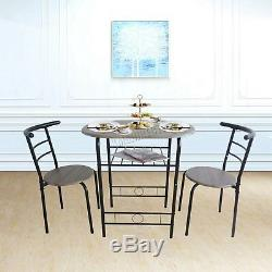 WestWood Compact Dining Table Breakfast Bar 2 Chair Set Metal MDF Kitchen DS06