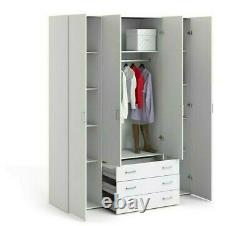White Double Triple 2 3 Door Wardrobe Chest of Drawers 1 3 5 Bedroom Furniture
